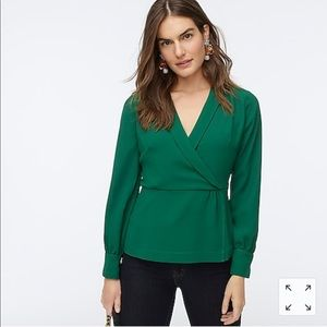 New J crew drapey faux-wrap top in 365 crepe green